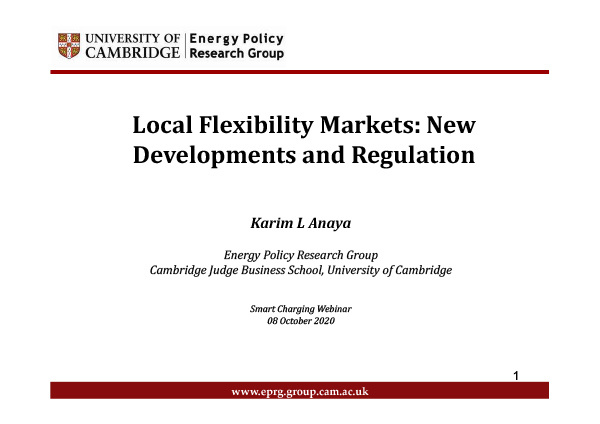 Local Flexibility Markets: New Developments and Regulation
